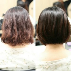 縮毛矯正をかける前とかけた後の状態の比較