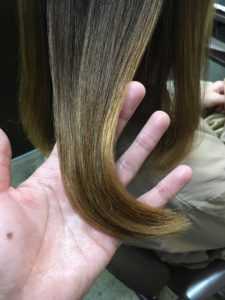 綺麗になった髪の毛束